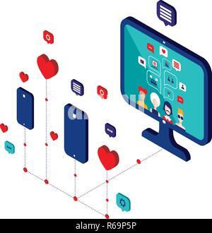 La red social y el concepto de tecnología moderna ilustración vectorial diseño isométrico Plano
