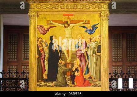 La Crucifixión con San Juan Bautista, San Antonio, San Juan, San Bernardo, San Bernardino, San Francisco y María Magdalena (por Neri di Bicci 1464) - Fiesole