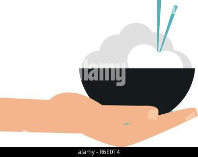 Con la mano en el cuenco de arroz