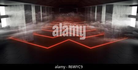 Sci Fi niebla de humo abstracto vacío Alienship hormigón largo túnel oscuro pasillo con ventana blanca y luces de neón en forma de flecha de color rojo anaranjado brillante luz T