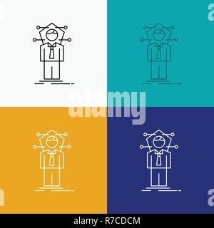 Negocios, conexión humana, red, icono de la solución a través de diversos antecedentes. Diseño de estilo de línea, diseñado para web y app. 10 ilustración vectorial EPS