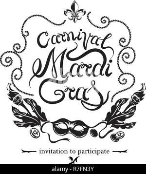 Tarjeta De Invitación De Carnaval Con Máscara De Oro Fiesta