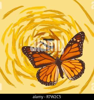 Dibujadas a mano mariposa sobre flor abstracta