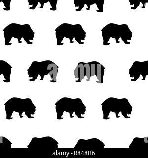 Trama perfecta silueta oso negro sobre fondo blanco, de estilo vintage. Animales salvajes lindo simple impresión de dibujo para niños, ropa para los tejidos de textura