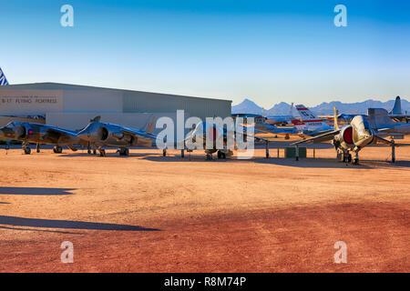 Colección de Hawker Siddeley cazas VSTOL en exhibición en el Pima Air & Space Museum de Tucson, AZ