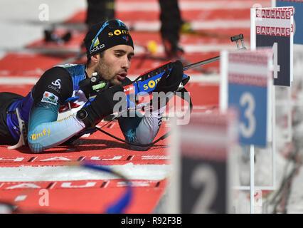 Francia Martin Fourcade en el tiro durante una sesión de entrenamiento antes de la Copa Mundial 2018 IBU Biatlón en Nove Mesto na Morave, República Checa, el 18 de diciembre de 2018. (CTK Foto/Lubos Pavlicek)