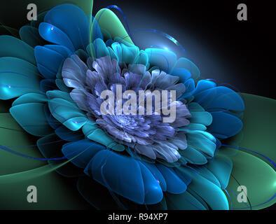 Noche mágica fantasía. Resumen Antecedentes fractal exótico, espiral flor con núcleos brillantes pétalos con textura. Diseño de carteles, camisetas, Creative