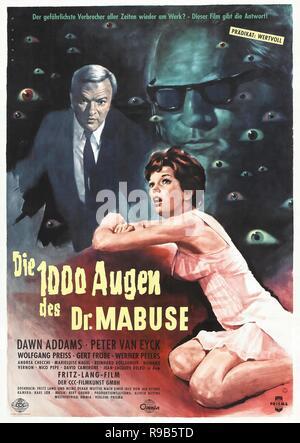 El título de la película original de 1000: Die Augen DES DR. MABUSE. Título en inglés: LOS MIL OJOS DE DR. MABUSE. Año: 1960. Director: FRITZ LANG. Crédito: CENTRAL CINEMA COMPANY FILM / Álbum
