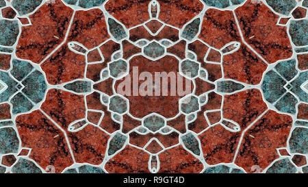 Abstracta hipnótico colorido patrón simétrico decorativos ornamentales Caleidoscopio Movimiento Círculo geométrico y formas de estrella Foto de stock