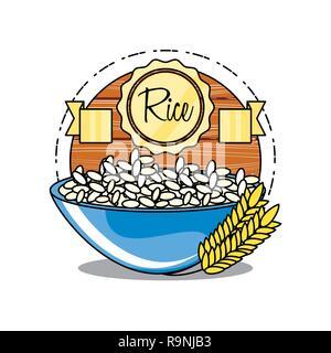 Fresco y delicioso arroz en un tazón de diseño ilustración vectorial