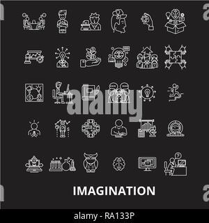 La imaginación de línea editable vector iconos conjunto sobre fondo negro. La imaginación contorno blanco ilustraciones, signos, símbolos Foto de stock