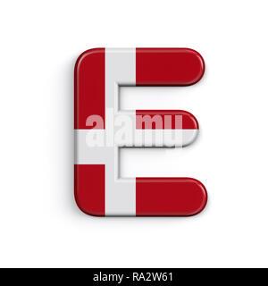 Dinamarca letra E - 3d grande bandera danesa font aislado sobre fondo blanco. Este alfabeto es perfecto para creativos ilustraciones relacionadas pero no limitado