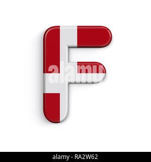 Dinamarca la letra F - Capital 3d bandera danesa font aislado sobre fondo blanco. Este alfabeto es perfecto para creativos ilustraciones relacionadas pero no se limite a