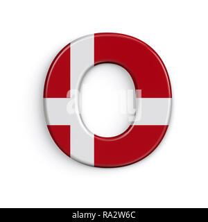Dinamarca letra O - Capital 3d bandera danesa font aislado sobre fondo blanco. Este alfabeto es perfecto para creativos ilustraciones relacionadas pero no se limite a