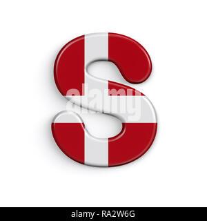 Dinamarca la letra S - Capital 3d bandera danesa font aislado sobre fondo blanco. Este alfabeto es perfecto para creativos ilustraciones relacionadas pero no se limite a