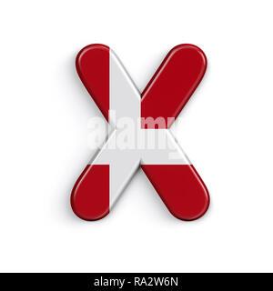 Dinamarca la letra X - Capital 3d bandera danesa font aislado sobre fondo blanco. Este alfabeto es perfecto para creativos ilustraciones relacionadas pero no se limite a