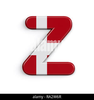 Dinamarca La letra Z - Capital 3d bandera danesa font aislado sobre fondo blanco. Este alfabeto es perfecto para creativos ilustraciones relacionadas pero no se limite a