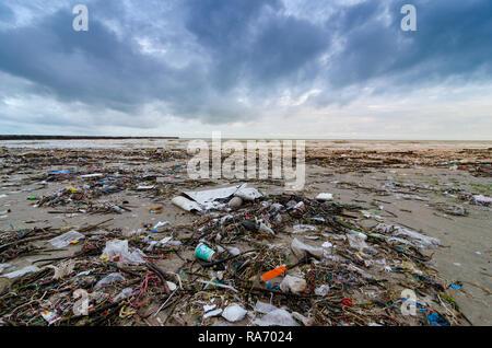 La basura la botella de plástico del mar de playa se encuentra en la playa y contamina el mar y la vida de la vida marina derramado basura en la playa de la gran ciudad.