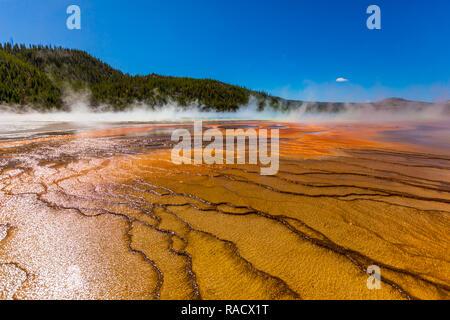 Grand Prismatic Spring, el Parque Nacional de Yellowstone, Sitio del Patrimonio Mundial de la UNESCO, Wyoming, Estados Unidos de América, América del Norte