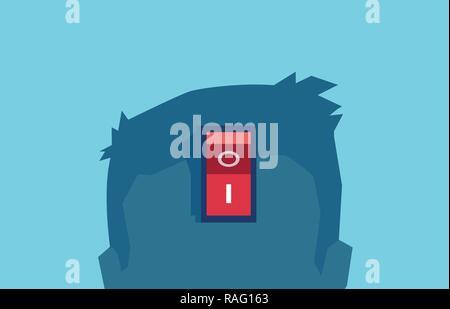 Vector de un cerebro de alimentación, interruptor de encendido funciona bien despierto. Cortar el pensamiento negativo concepto aislado en azul. Foto de stock