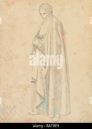 Joseph Wintergerst en un piso-longitud Cubra, de pie, con sus manos colocadas una encima de otra, Wilhelm von Schadow reinventado
