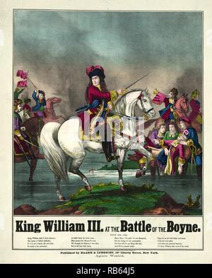 El rey Guillermo III, en la batalla del Boyne a caballo llevando tropas a la batalla. 1874 ilustración. La Batalla del Boyne en 1690 entre pretendientes rivales de los ingleses, escoceses e irlandeses tronos, cerca de Drogheda, en la costa oriental de Irlanda. La batalla ganada por William, y ayudó a asegurar la continuación de ascendencia protestante en Irlanda. Foto de stock