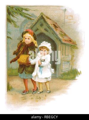 1893 sentimental ilustración Victoriana de dos niños fuera de una iglesia.