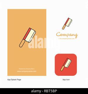 Cuchillo de carnicero el logotipo de la empresa App icono y el diseño de la página de bienvenida. Elementos de diseño de aplicaciones empresariales creativas