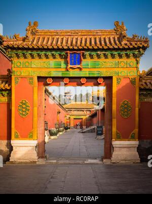La Ciudad Prohibida es un complejo de palacio en el centro de Beijing, China. Foto de stock