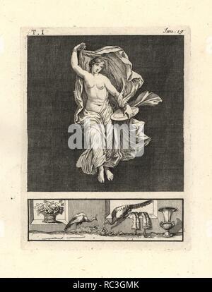 """Retira la pintura de la pared de una habitación, posiblemente un triclinium o comedor, en una casa de Pompeya en 1749. Muestra Venus, o un bailarín o representando a su bacchant, bailando graciosamente con un disco de oro y azul velo diáfano. Grabado por Tommaso Piroli Copperplate desde su propio 'Antichita di Ercolano"""" (Antigüedades de Herculano), Roma, 1789. Pintor y grabador italiano Piroli (1752-1824) publicado en seis volúmenes entre 1789 y 1807 documenta los murales y bronces encontrados en Heraculaneum y Pompeya."""