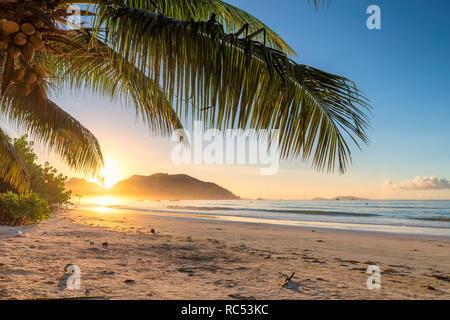 Hermoso amanecer sobre la playa tropical de la isla caribeña.
