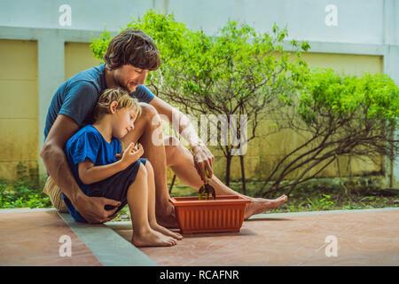 Padre e hijo de la jardinería en el jardín cerca de la casa