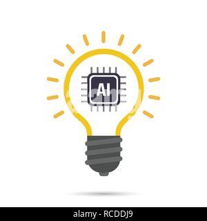 AI Inteligencia artificial tecnología icono de bombilla de elemento de diseño ilustración vectorial EPS10 Foto de stock