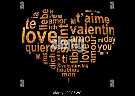 Las palabras de amor en un corazón de oro aislado sobre fondo negro, Valentín multilingual palabra cloud tarjeta de felicitación