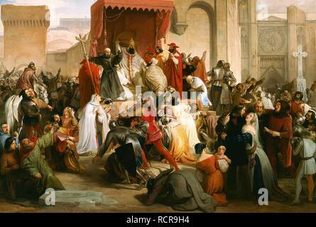 El papa Urbano II predica la primera cruzada en la Plaza de Clermont. Museo: Gallerie di Piazza Scala de Milán. Autor: Francesco Hayez.