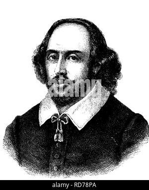William Shakespeare, 1564 - 1616, poeta y dramaturgo inglés, histórico xilografía, 1880
