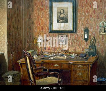 Interior del estudio de Johannes Brahms en su casa en Viena. Siglo xix. Museo: Museen der Stadt. Foto de stock