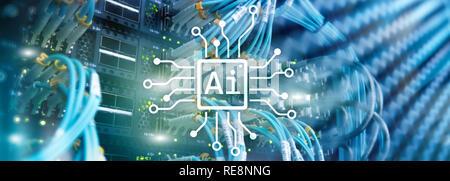 AI, inteligencia artificial, automatización y moderno concepto de tecnología de la información en la pantalla virtual