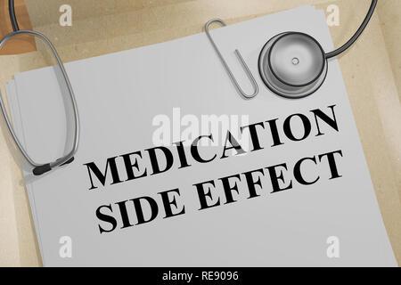 Ilustración 3D de efecto secundario del medicamento título sobre un documento médico
