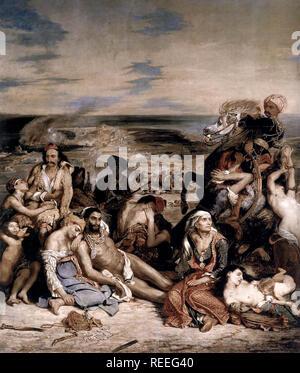 La masacre de Chios por Eugène Delacroix representa un ataque militar contra los habitantes de Chios por fuerzas Otomanas el 11 de abril de 1822