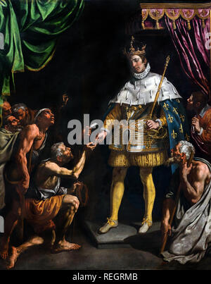 San Luis, rey de Francia, distribuyendo limosnas 1615 por Luis Tristán de Toledo ( 1585 - 1624 ), España, español