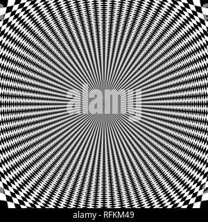 Spin ilusión óptica psicodélica de fondo. Imagen del efecto de ilusión de movimiento.