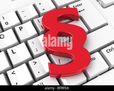 Icono de párrafo en el teclado del ordenador antecedentes, representación tridimensional, ilustración 3D