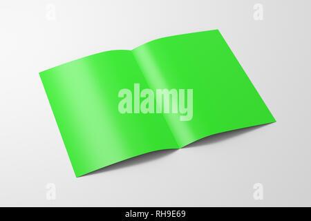 Doblados por la mitad verde en blanco flyer folleto sobre fondo blanco. Con trazado de recorte alrededor de folleto. Ilustración 3d