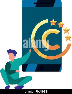 Hombre de negocios móviles digitales copyright ilustración vectorial