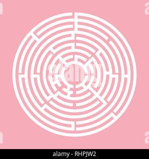 Rosa y Blanco, LABERINTO laberinto circular para niños, niños Enigma juego de puzzle, con una entrada y una salida.