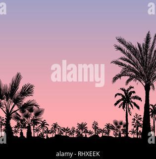 Tarjeta de vectores con palmeras realista silueta en el grunge tropical sunset o sunrise fondo rosa
