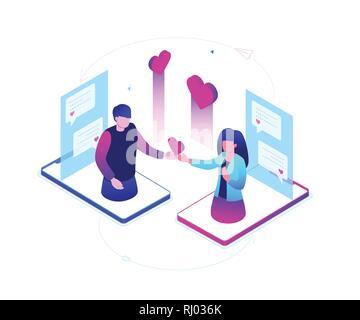 Dating online - moderno colorido isométrica ilustración vectorial