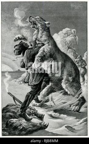 Frontispicio ilustración, el desierto de hielo, por Julio Verne -- había sumido su cuchillo hasta los cojones en la garganta del animal.