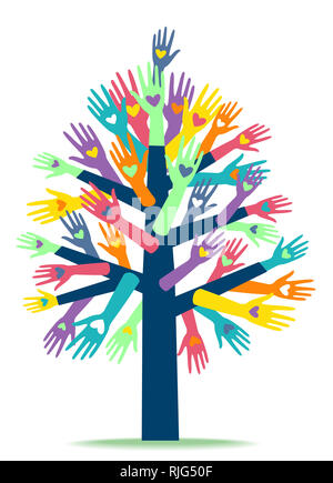 Ilustración de varias manos con corazón imprime formando un árbol. Organización benéfica. Foto de stock